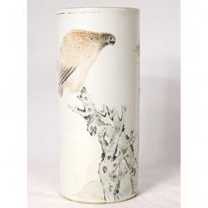 Vase Rouleau Porcelaine Chinoise Oiseau Chien Arbre Poème Guangxu XIXème