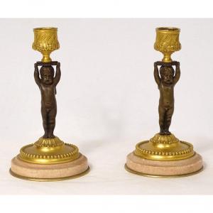 Paire Bougeoirs Flambeaux Bronze Marbre Angelots Amours Napoléon III XIXème
