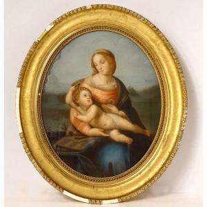 Pastel Tableau Ovale Vierge Enfant Jésus Madone Paysage Heurtier XIXème