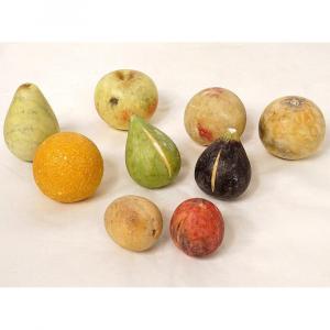 Ensemble 9 Fruits Marbre Carrare Polychrome Pomme Pêche Figue Poire XIXème