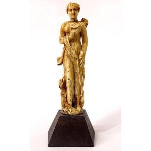 Petite Statuette Miniature Diane Chasseresse Lévrier Carquois XVIè Siècle