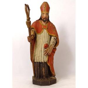 Statue Bois Sculpté Polychrome évêque Crosse Saint-eloi XVIIIème Siècle