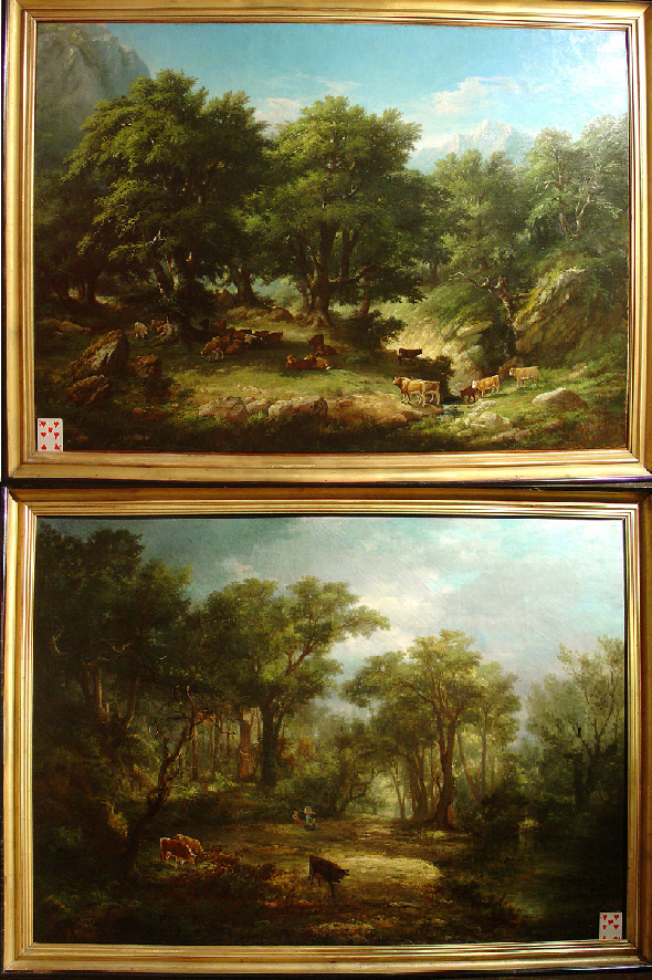 Paire de Grands Paysages de Pélegry, France 19eme