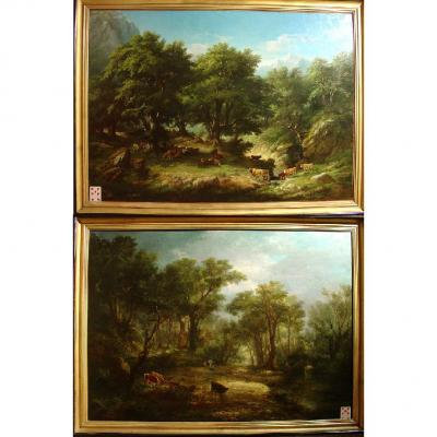 19 Th C. French Romantic Paintings,signed Pelegry