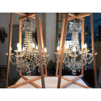 Pair Of Baccarat Crystal Chandeliers
