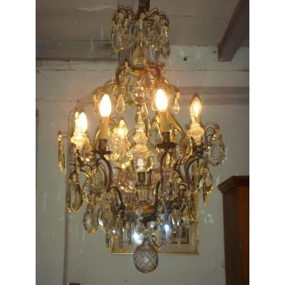 Chandelier Bronze And Crystal