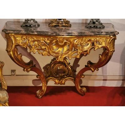 Console D époque  Louis XV doré