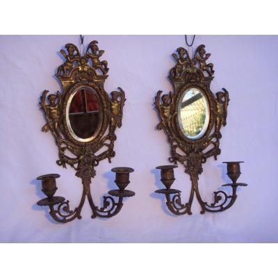 Paire d'Appliques Miroirs Biseautés En Bronze