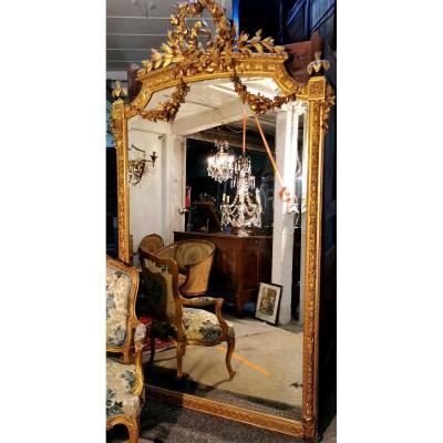 Très Grand Miroir Doré à La Feuille D Or