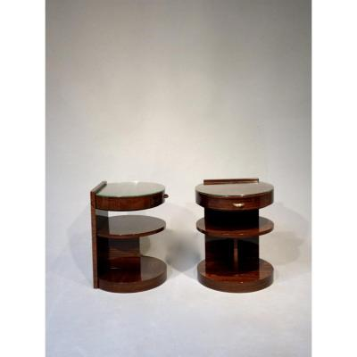 Pair Of Art Deco Bedside Table Of M.dufet
