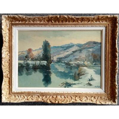 Alfred Veillet (1882-1958) La Seine à Rolleboise