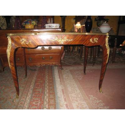 Bureau Plat Acajou Et Bronzes Style Louis XV