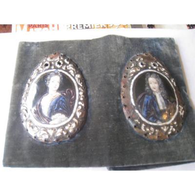 Paire De Miniatures En émail Fin XVIIème
