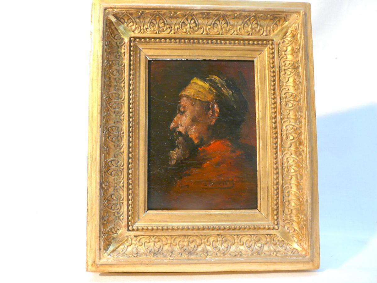 Oil Oriental Painting On Panel, 19th Century.