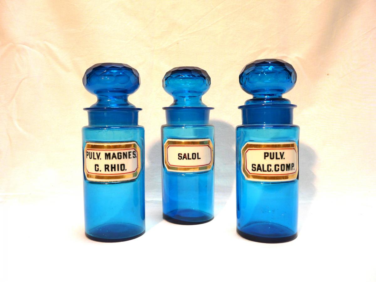 Set Of 3 Old Crystal Pharmacy Pots