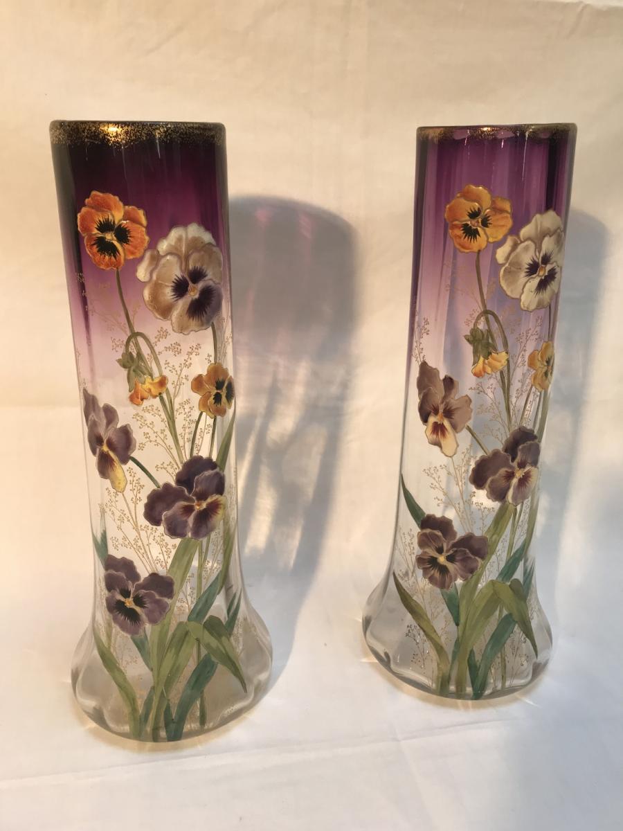 Paire De Vases émaillés Aux Pensées