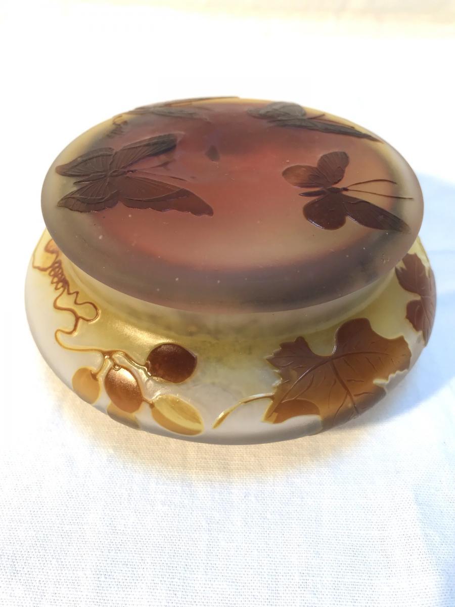 Bonbonnière circulaire E. Gallé, d'époque Art Nouveau