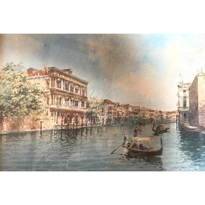 Tableau De Andrea Biondetti, Aquarelle De Venise