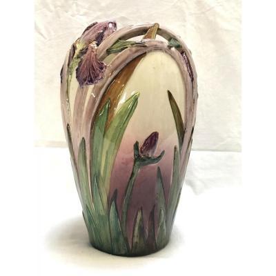 Vase Delphin Massier En Barbotine