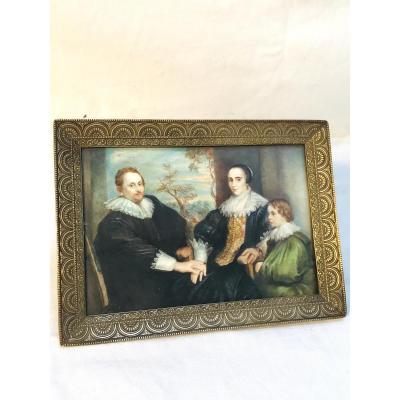 """Peinture Sur Ivoire """"portrait De Famille"""", XIXème Siècle"""