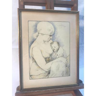 "Rassenfosse Armand, ""femme à l'Enfant"" 1928"