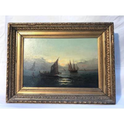 Tableau Marine de Guichard Joseph Alexandre, XIXème Siècle