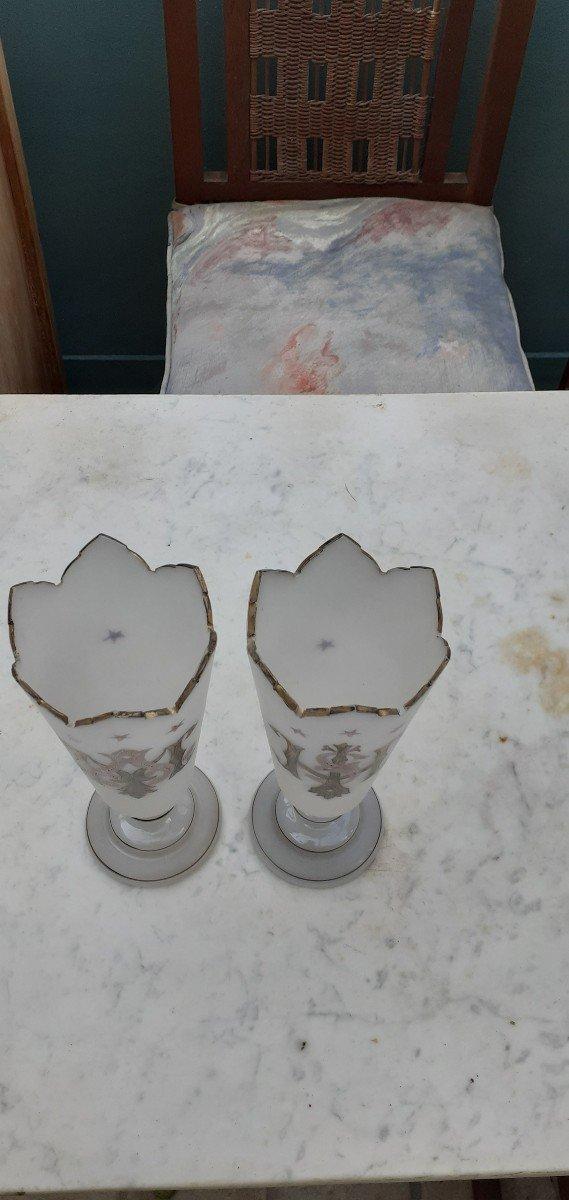 Paire De Vases Opaline Forme Cornet 1900-photo-2