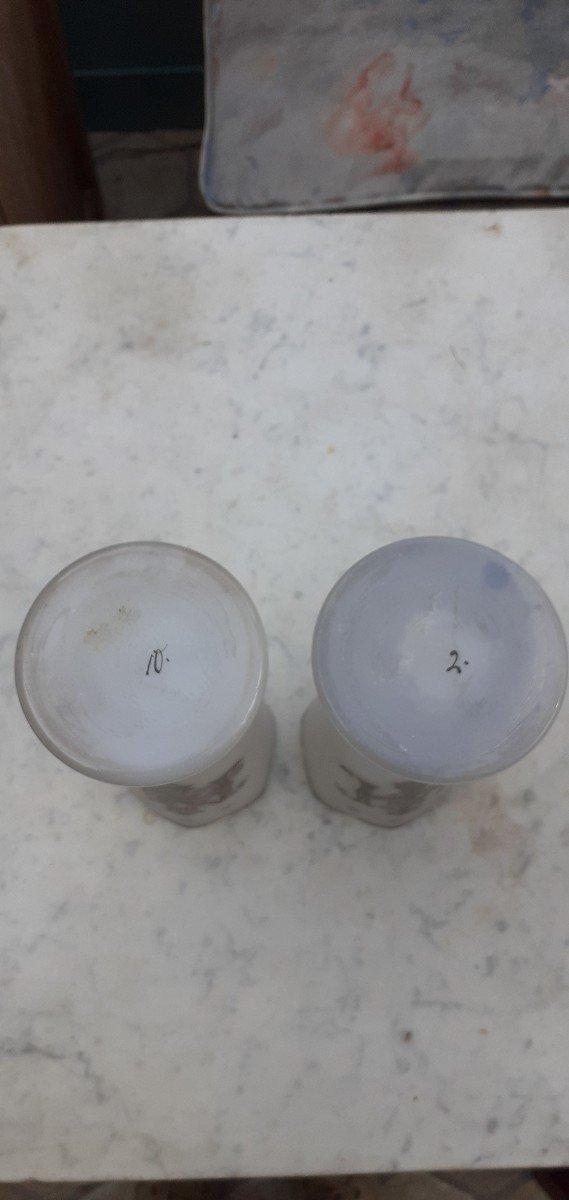 Paire De Vases Opaline Forme Cornet 1900-photo-4