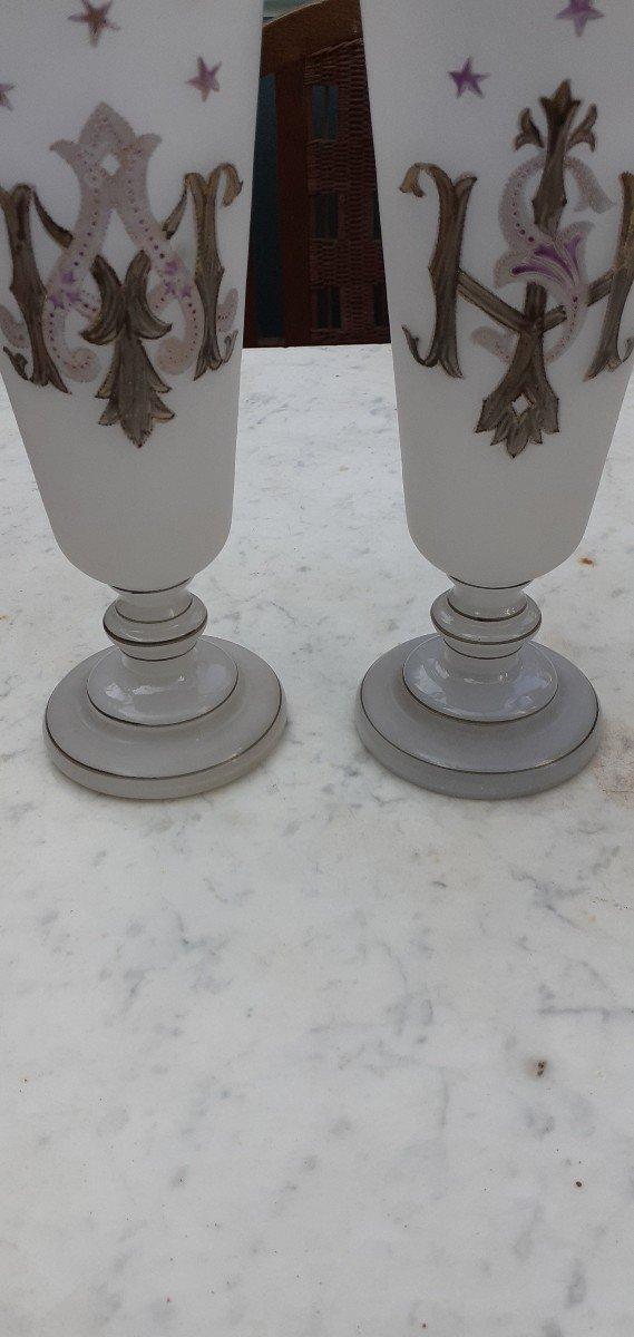 Paire De Vases Opaline Forme Cornet 1900-photo-1