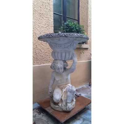 Putti Topped With A Reconstituted Stone Basin