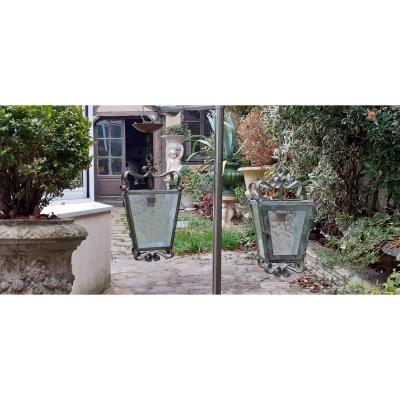 Pair Of Green Patina Wrought Iron Lanterns