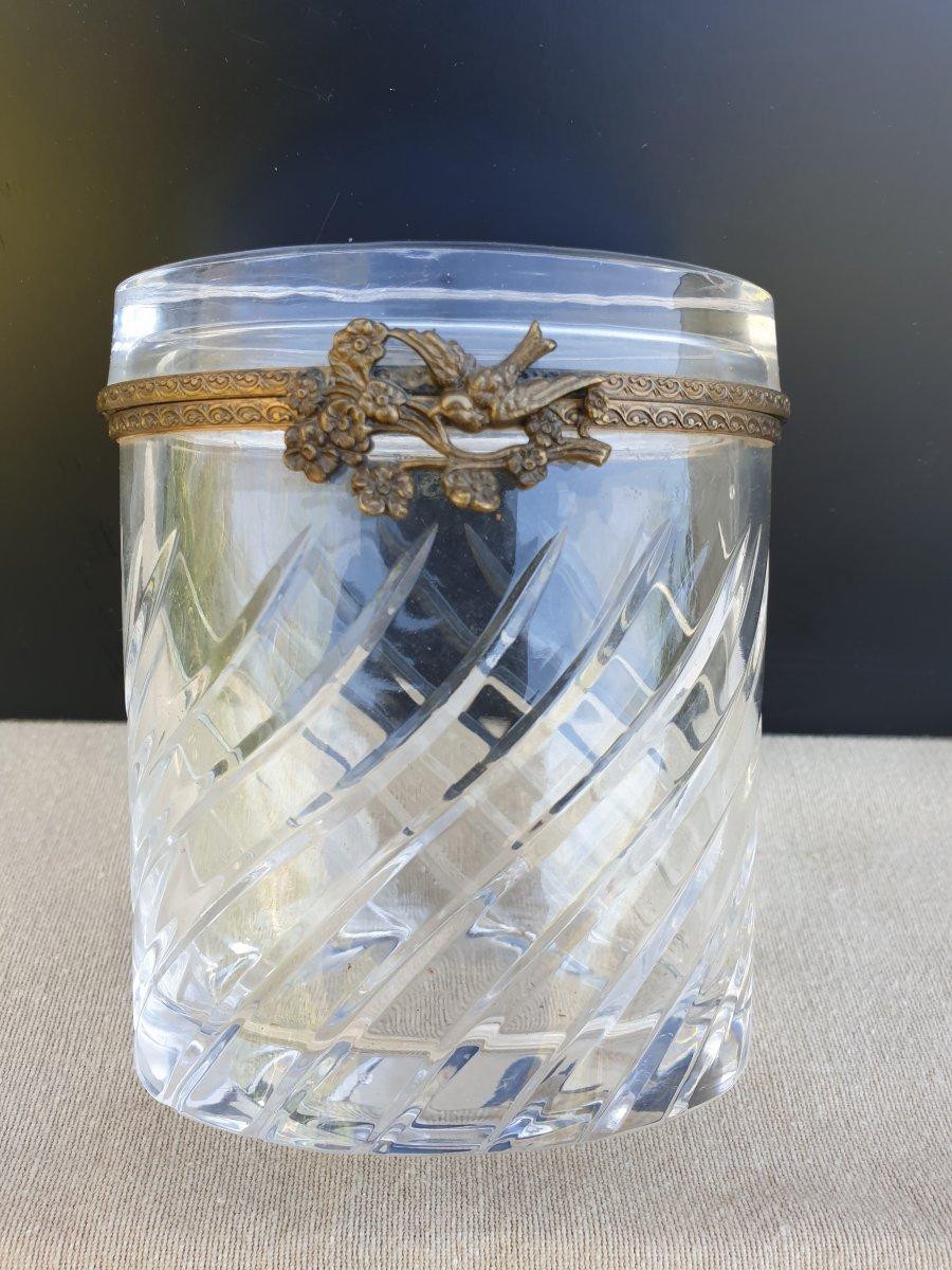 Coffret Cristal Boîte Ovale Laiton Fleurs Oiseau  19 ème siècle