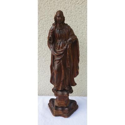 Sainte En  Bois Sculpté Fin 17 ème  Siècle Bois Léger
