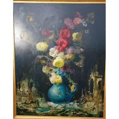 Marcel  Delmotte Paysage Fantastique Vase De Fleurs