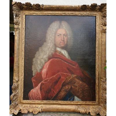 Portrait Homme Ecole De Largillière Debut 18 Eme Notable  Bordelais