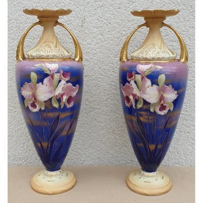 Paire De Vases Art Nouveau Amphora  Décors d'Iris 1900