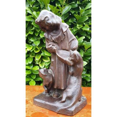 Jean Tarrit Sculpture jeune femme Aux Chats  Art Nouveau Acajou
