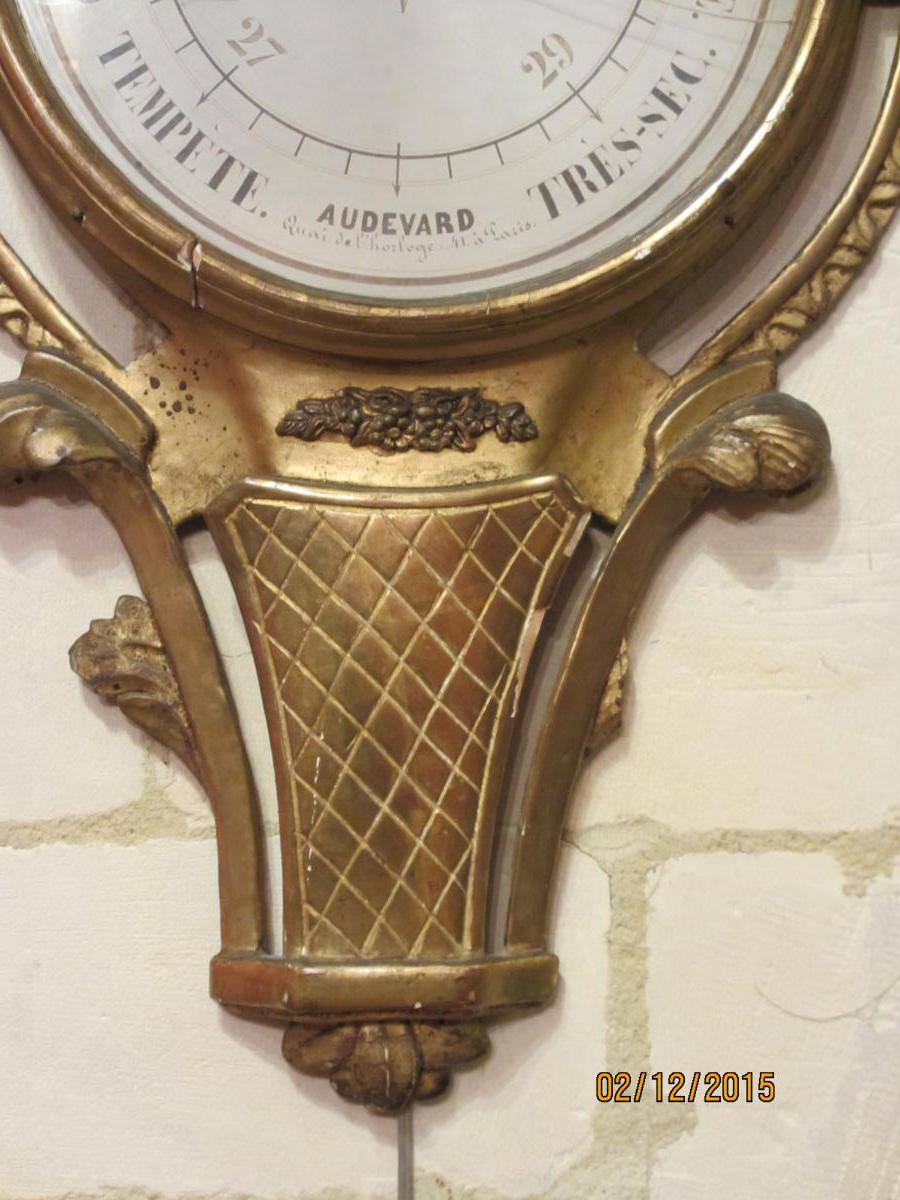 Baromètre Louis XVI En Bois Doré-photo-3