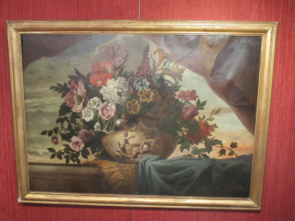 Huile Sur Toile : Bouquet De Fleurs.