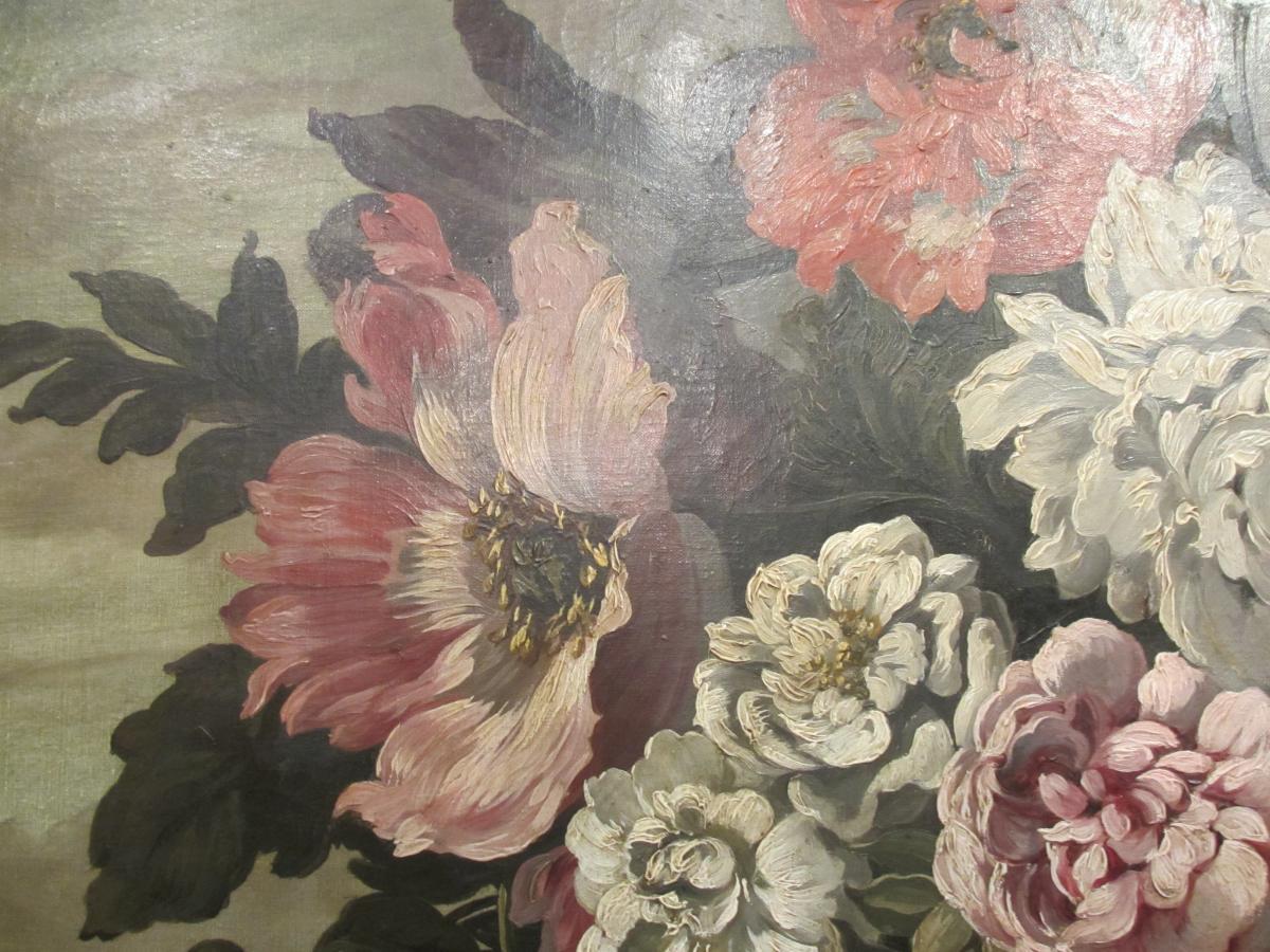 Très grande Huile Sur Toile : Bouquet De Fleurs.-photo-3