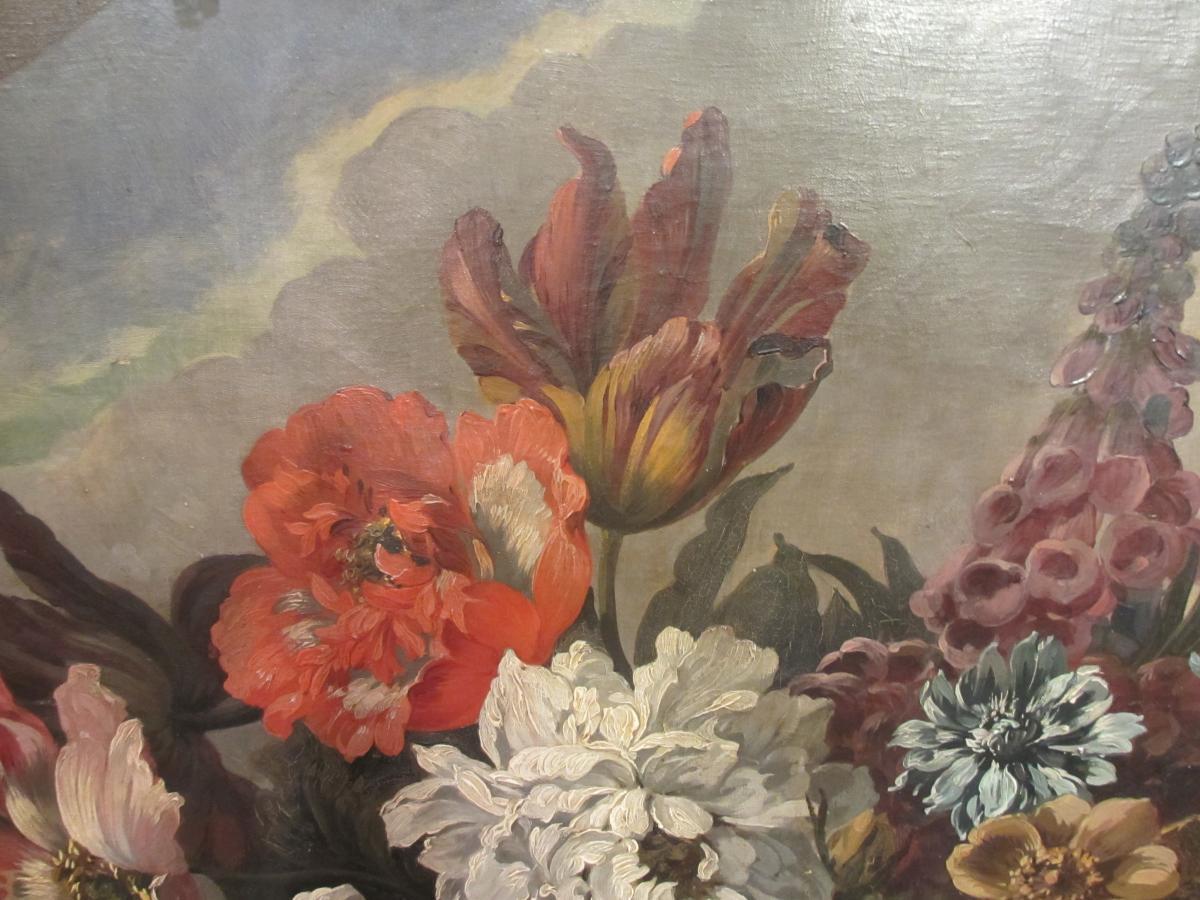 Très grande Huile Sur Toile : Bouquet De Fleurs.-photo-1