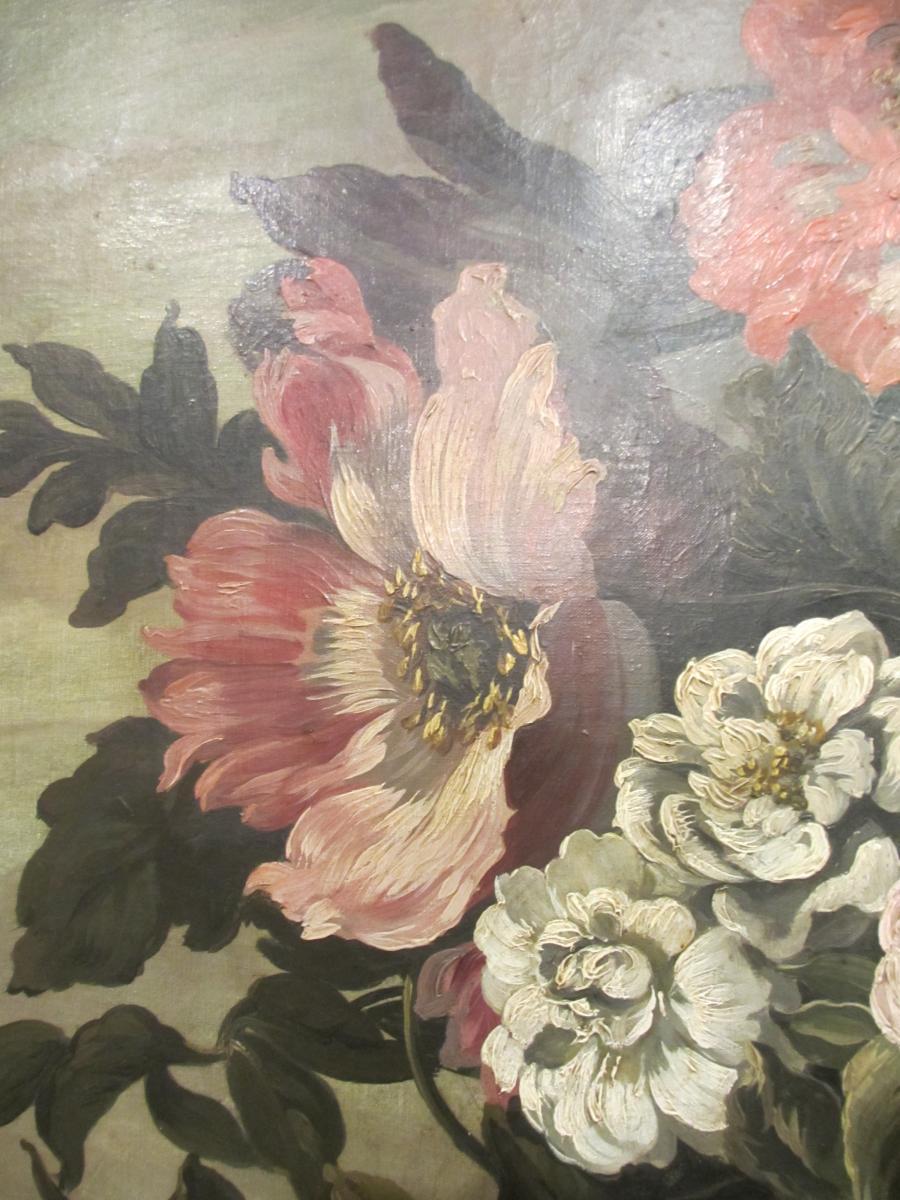 Très grande Huile Sur Toile : Bouquet De Fleurs.-photo-4