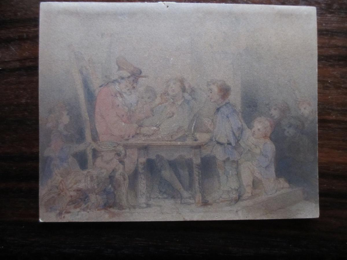 "Watercolor ""the Master And His Students"""