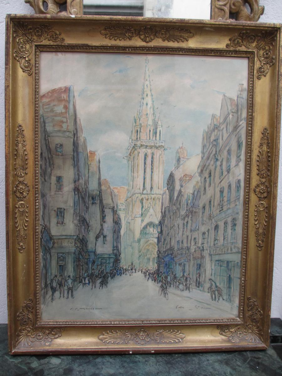 """Watercolor """"street And Church Saint Pierre In Caen"""""""