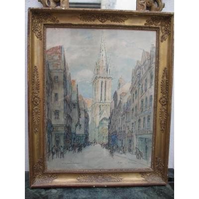 "Watercolor ""street And Church Saint Pierre In Caen"""