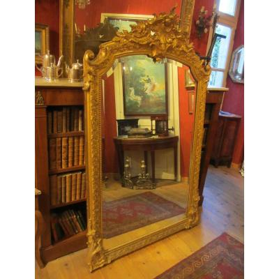 Large Golden Stucco Mirror Rocaille Style