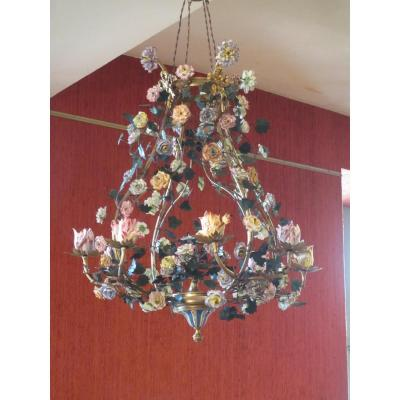Bronze Chandelier And Porcelain Flowers
