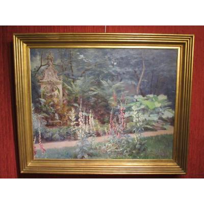 """Très grande huile sur toile """"vue de parc"""" par Auguste Michel Nobillet"""