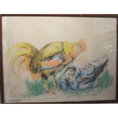 Coq et Poule , grand crayon gras  par Raymond Bigot