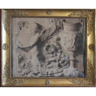 Dessin Au Fusain d'Une Frise Architecturale Classique , Circa 1810/1820